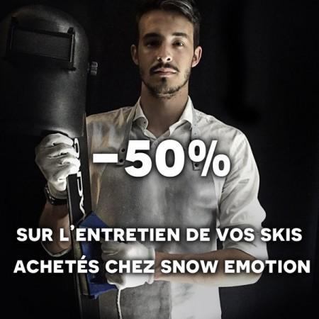 50% entretien de vos skis achetés chez Snow Emotion
