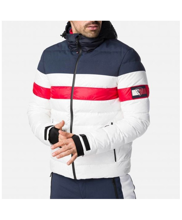 Colour block quilted men's ski jacket