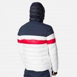 Colour block quilted men's ski jacket